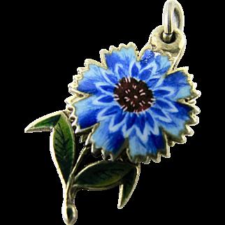 RARE Antique French 800 Silver Enamel Charm Flower depicting 'Amitie' Friendship Sentimental Love Token for Bracelet or Pendant from Victorian Era