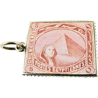 Vintage 1920s French 800 Silver Enamel Charm of a Postage Stamp of the Pyramid Sphinx at Giza in Egypt for Souvenir Bracelet - from Art Deco Era