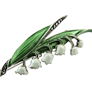 Vintage Sterling Silver Enamel Marcasite Lily of the Valley Brooch Pin - Hallmarked 'Sterling'