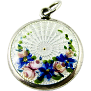 Vintage Guilloche Enamel Floral Roses 930 grade Silver Charm - Rare and Unusual Hallmark - probably Scandinavian