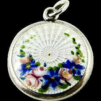 Vintage Guilloche Enamel Floral Roses 930 grade Silver Charm - Rare and Unusual Hallmark - probably Scandinavian