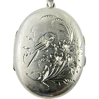 Antique 19th Century Locket French Continental Silver Hand Engraved Bird & Flowers Victorian Aesthetic Era