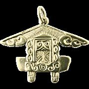 RARE Vintage Solid 9k Gold Pendant of Maori House (Wharenui) New Zealand Hallmark Charm Fob Souvenir