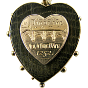 RARE Antique 9k Gold Heart Scottish Aged Oak Souvenir of Medieval Bridge 'Brig O'Ayr Oak' Pendant Necklace Hallmarked Pale Rose Gold
