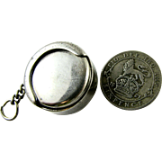 RARE Vintage Sterling Silver Keyring Sprung Coin Holder for Sixpences - Meter Money...! Hallmarked 1963 Watch Chain Fob