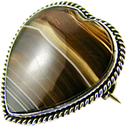 Vintage Banded Agate Heart Shaped Sterling Silver Brooch Pin - Good Condition - Scottish
