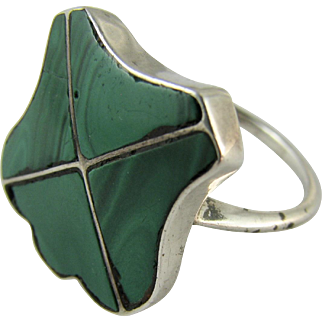 RARE Victorian Sterling Silver Malachite Scottish Shield Signet Ring - Good Condition