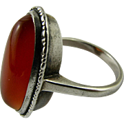 Vintage Decorative Bead Edge Sterling Silver and Large Carnelian Ring Edwardian Era