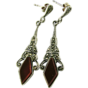 Vintage Decorative Marcasite and Carnelian Sterling Silver Drop Earrings (Pierced)  Reproduction of Edwardian Era