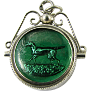 RARE Antique Victorian Continental Silver Swivel Fob Banded Agate Hunting Dog Hound Reverse Intaglio Essex Crystal Hallmarked