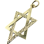 Vintage 9k Solid Yellow Gold Star of David Pendant with Full English Hallmarks - Jewish Religious Symbol Bracelet Charm