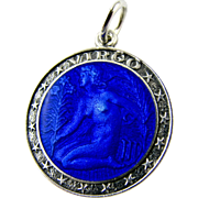 Vintage Sterling Silver Enamel Pendant Charm Cobalt Blue Virgo with Charles THOMAE Hallmark - Zodiac Star Sign 'The Virgin' Symbol Bracelet