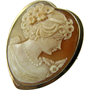 Vintage 9k Gold Hand Carved Shell Cameo Heart Shaped Pendant Brooch Pin - Excellent Condition - Hallmarked