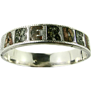 Antique Bangle Victorian Scottish Agate Granite set Sterling Silver Hand Etched Souvenir of Aberdeen - Excellent condition! RARE