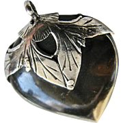 Antique Victorian Pique Shell Sterling Silver Mounted Puffy Shaped Heart Charm or Pendant - Very Good Condition