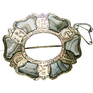 Antique Victorian Scottish Brooch Pin Sterling Silver Blue Montrose Agate Etched Design Letters spelling 'REGARD' - very good condition