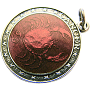 Vintage Sterling Silver Enamel Pendant Charm Red CANCER with Charles THOMAE Hallmark - Zodiac Star Sign 'The Crab' Symbol Bracelet