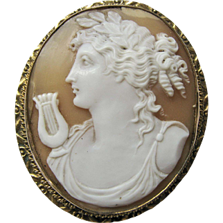 Victorian Gold-Filled Hand Carved Shell Cameo Oval Brooch Pin - depicting Apollo and his Lyre - Good Antique Condition - Excellent Carving