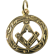 Vintage Small Solid 9k Yellow Gold Masonic Etched Fob Pendant or Charm - Full English Hallmarks 1940  - Freemasonry Rule & Compass