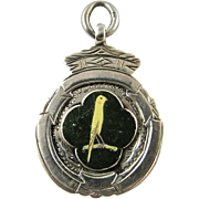 RARE Vintage English Sterling Silver Enamel Watch Fob Medal Prize for Canary Fanciers' Show  - Hallmark 1921 - Not Engraved - Medallion