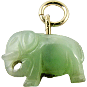 Vintage Genuine Jadeite Jade Carved Elephant - Small Pendant or Bracelet Charm