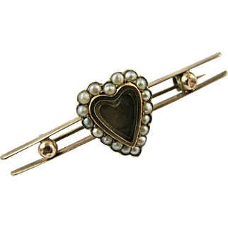 Victorian 9k Rose Gold Seed Pearl Heart Photo Hair Locket Bar Brooch Pin Edwardian Sentimental Mourning Memorial