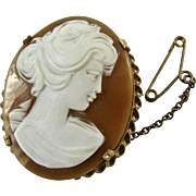 Vintage 9k Gold Hand Carved Shell Cameo Oval Shaped Brooch Pin - Italian - Original Box - Excellent Condition - Hallmarked