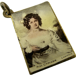 RARE Charm Antique Edwardian English Postcard Charm of Famous Portrait Painting - Great condition  - Vintage Charm for Bracelet