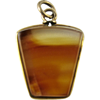 Edwardian Vintage Gold-Fill Mounted Masonic Bevelled Carnelian Stone Fob Pendant or Charm - Freemasonry Keystone Arch Shape - Agate