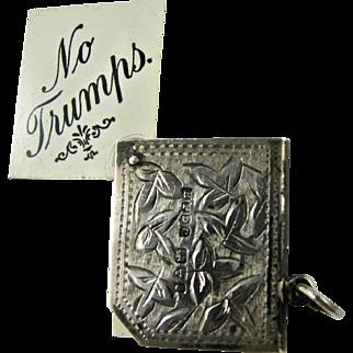 RARE Sterling Antique Bridge Cards Suit Trump Marker Victorian English Silver - Pendant Bracelet Charm - Hallmarked 1905 Chester - Edwardian