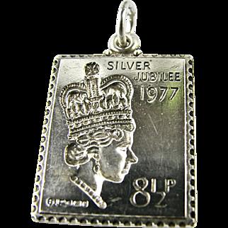 Vintage Postage Stamp Charm Sterling Silver Queen Elizabeth 1977 Jubilee Bracelet Full UK Hallmarks 1977 Souvenir Pendant