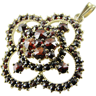 Vintage Genuine Garnets Pendant - Gilded Continental Silver - Excellent Condition!