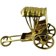 Vintage Solid 14k Yellow Gold Charm Miniature Rickshaw Moving Wheels Hong Kong 1960s
