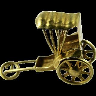Vintage Solid 14k Yellow Gold Charm Miniature Rickshaw Moving Wheels Hong Kong 1960s
