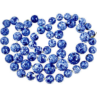 Vintage Genuine YSL Yves St Laurent (with tag) Blue White Ceramic Porcelain Long Beads 1970/80s Paris France French