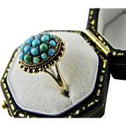 Antique 9k 9CT Yellow Gold Ring Pave Set Turquoise Hallmarked Size 5.5 (US) or K (UK or Aust.) Good Condition