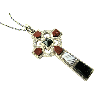 Antique Victorian Scottish Sterling Silver Agate Set Christian Celtic Cross Hand Etched Design - very fine condition.