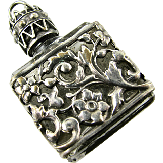 Antique Czech Glass and Silver Plated Decorative Perfume Bottle Pendant Necklace - Good Condition - Chatelaine