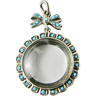 RARE Antique Photo Locket Glass Faux Turquoise Rock Crystal Sterling Silver Round  Shape with Bow  Excellent Cond. Sentimental Heirloom Edwardian