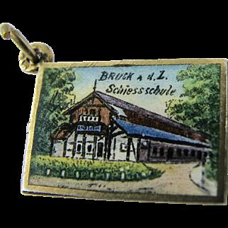 RARE Antique Enamel Austrian Postcard Charm Continental Silver Souvenir of GLUCK Hunting Shooting Archery School Art Deco Era Excellent Condition