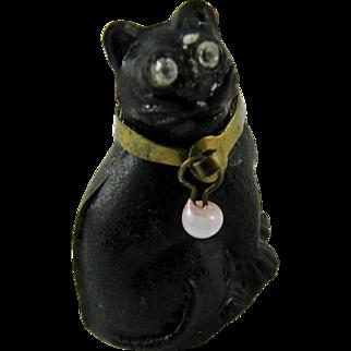 RARE Antique Art Deco 1920s Czech Moulded Glass Black Cat Cracker Charm Original Brass Collar & Faceted Paste Eyes - Halloween! Good Luck!
