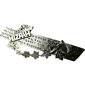 Antique MIZPAH Sterling Silver Cross Brooch Pin Victorian Era Sentimental Memento Romantic - Excellent Condition - Hallmarked CHESTER 1909