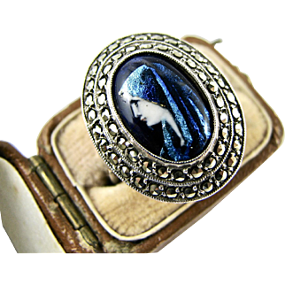 RARE Art Deco Era Ring Genuine Limoges (signed) Enamel Marcasite Saint Fabiola Camille Fauré Design French Silver 1920s/30s Vintage