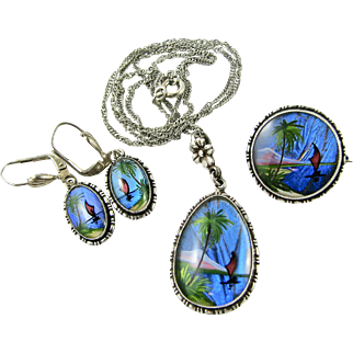 RARE Set TLM Butterfly Wing Brooch Pendant Drop Earrings Parure TLM Thomas L Mott Vintage English Sterling Silver