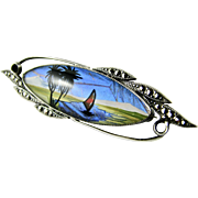 RARE Thomas L Mott (TLM) Butterfly Wing & Marcasite Large Brooch Vintage English Sterling Silver 1930s Excellent Vintage Condition