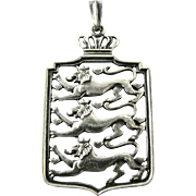 Vintage Danish 830 Silver Pendant by Carl M. Cohr - Denmark Coat of Arms - Heraldic Lions & Crown