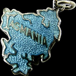 Rare TLM Blue Enamel Charm Sterling Tasmania (Australia) Map Thomas L. Mott