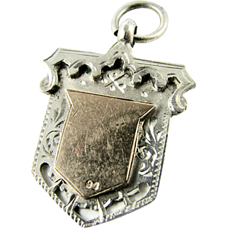 Antique English Sterling Silver, 9k Rose Gold and Sterling Silver Shield Watch Fob Medal Pendant - Full UK Hallmarks 1907