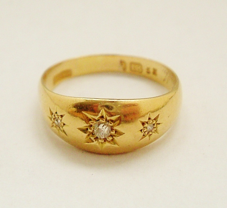 Edwardian English 18k gold diamond gypsy ring Red Tag Sale Item