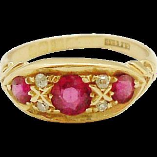 Edwardian English 18k gold ruby & diamond ring